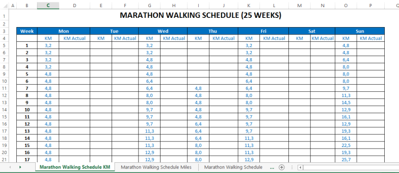 image Marathon Running Schedule (in Kilometers)