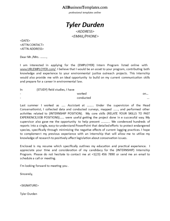 cover letter internship example - Cover Letter For Internship Example