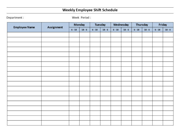 template topic preview image Weekly employee 12 hour shift schedule Mon to Fri