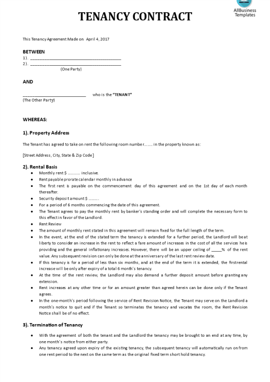 template topic preview image Tenancy Agreement template