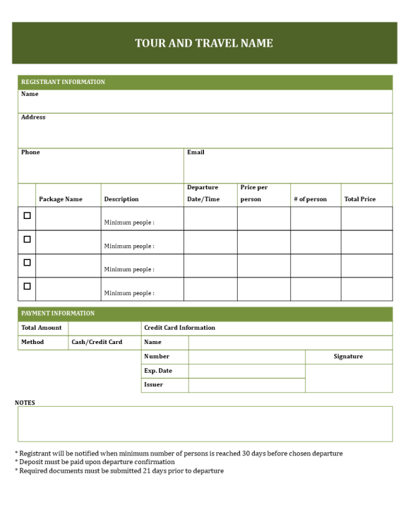 template topic preview image Travel Booking Form for Tours