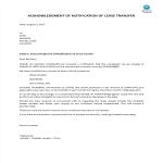 image Acknowledgment Of Notification Of Lease Transfer
