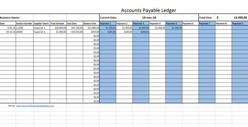 template preview imageAccounts Payable Legder