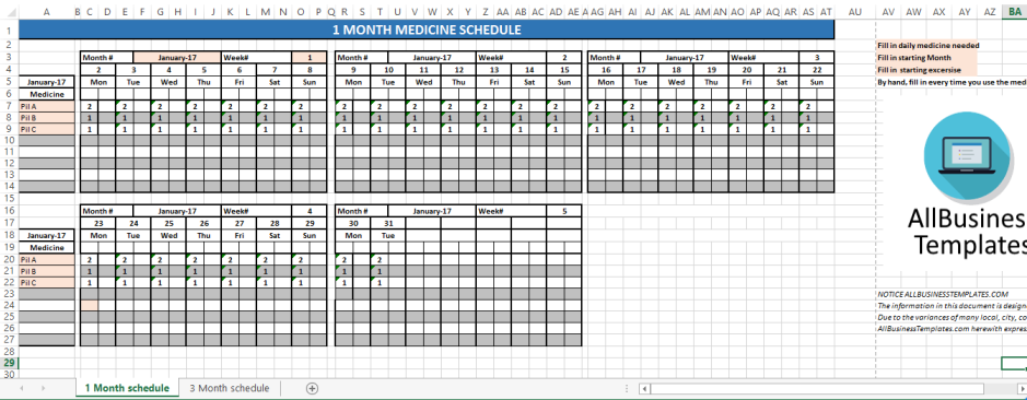 template topic preview image Monthly Medicine Schedule