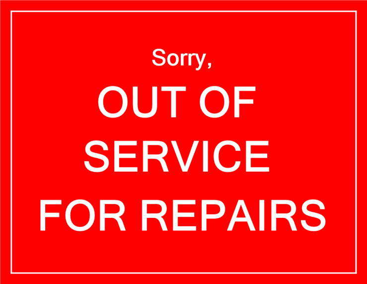 template topic preview image Out of Service notice for repairs in red color