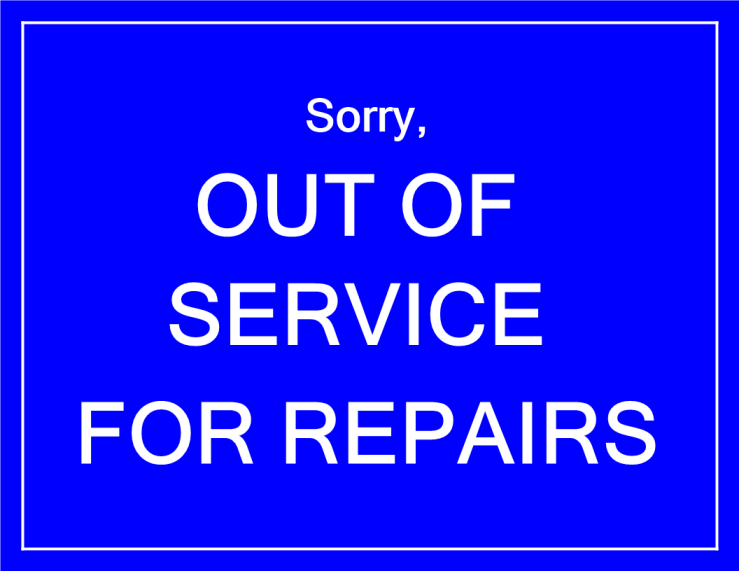template topic preview image Out of Service notice for repairs in blue color
