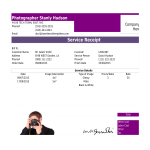 template topic preview image Photographer Service Receipt Bill sample