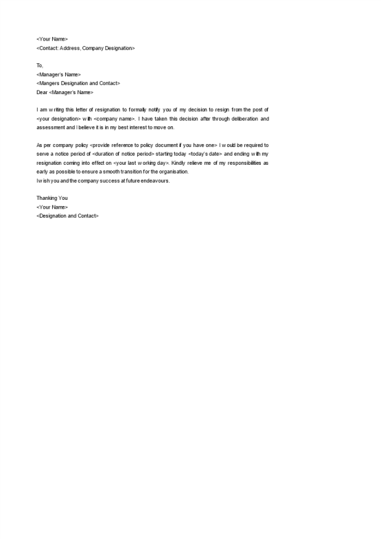 Superior Simple Resignation Notice Template