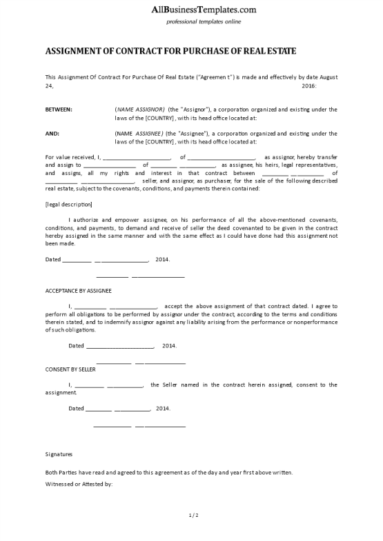 template topic preview image Assignment Of Contract Real Estate