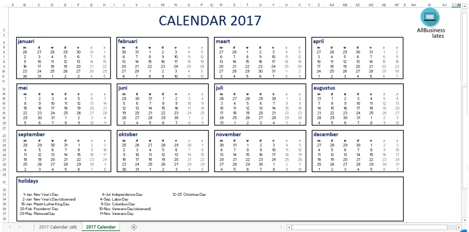 template preview image2017 Calendar Excel A4 size