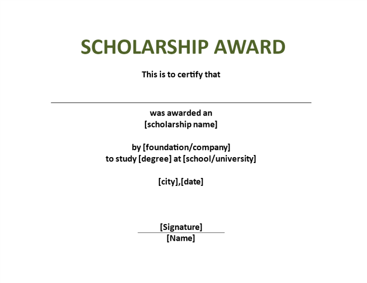 template topic preview image Scholarship Award Certificate template