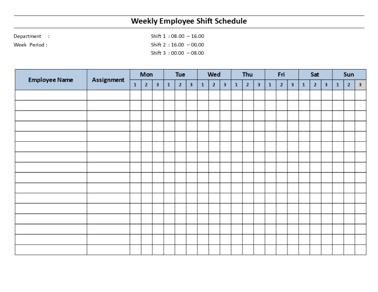 template topic preview image Weekly employee 8 hour shift schedule Mon to Sun