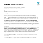 template topic preview image Construction Contract Example