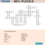 template topic preview image 80'S Crossword Puzzle