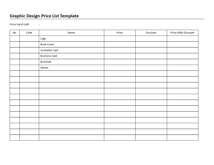 template topic preview image Graphic Design Price List