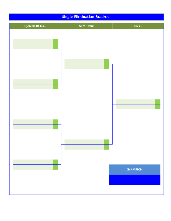 Single elimination game templates business templates for Game bracket template