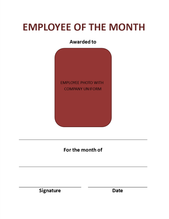 template topic preview image Monthly Employee Certificate Example (Portrait)