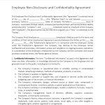 image Employee Non Disclosure And Confidentiality Agreement