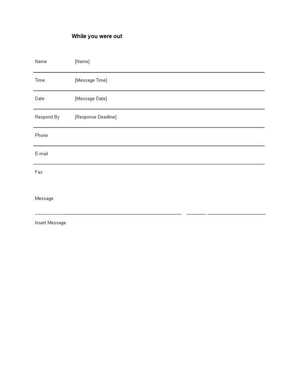 template topic preview image Phone Message Template Word