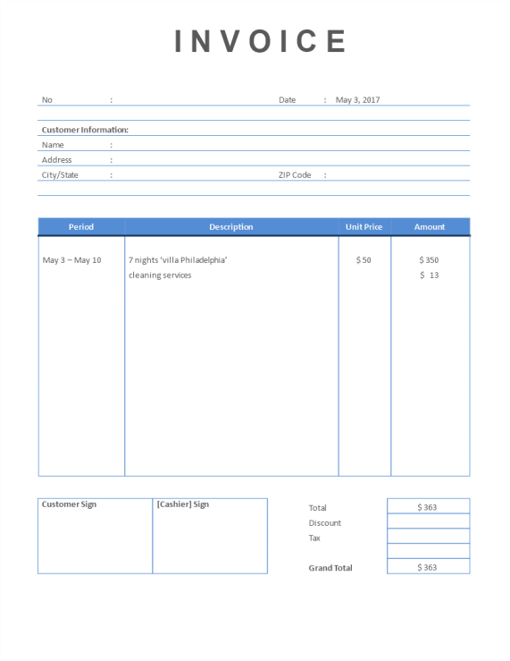 template topic preview image Rental Invoice Short Stay property