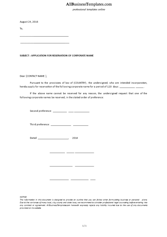 template topic preview image Application Letter Register Corporate Name Template