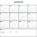 template topic preview image Printable 2019 Calendar Excel