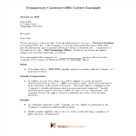 template topic preview image Temporary Contract Offer Letter