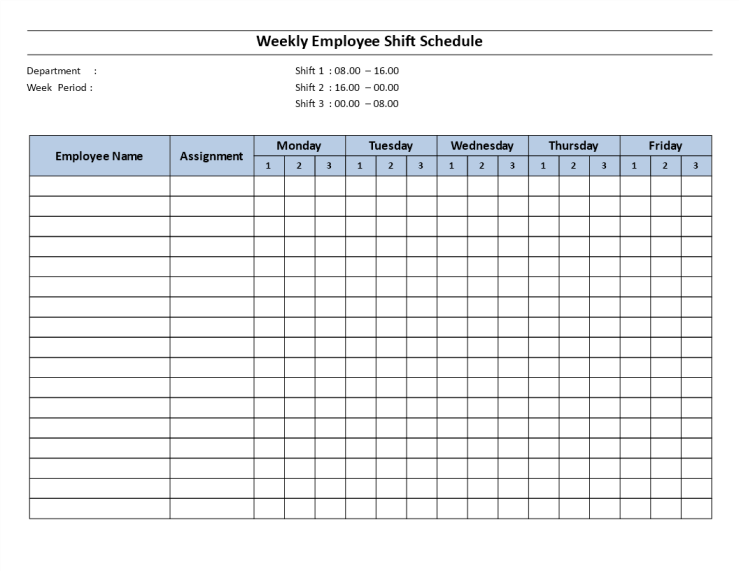 template topic preview image Weekly employee 8 hour shift schedule Mon to Fri