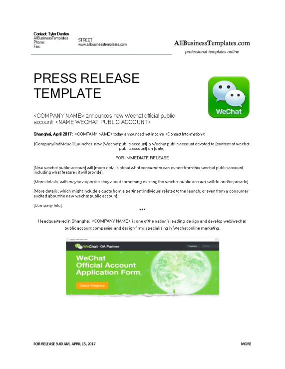 template topic preview image Press release new WeChat public account