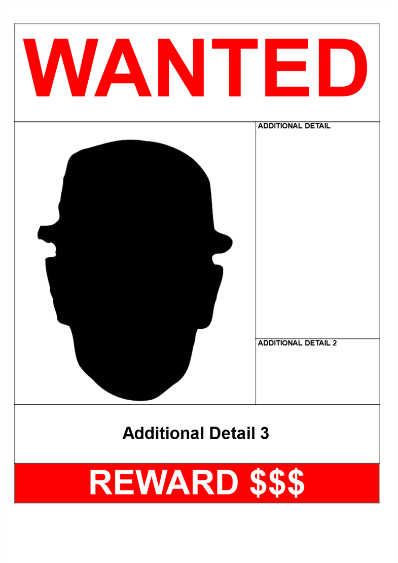 template topic preview image Wanted Poster A3 Size design