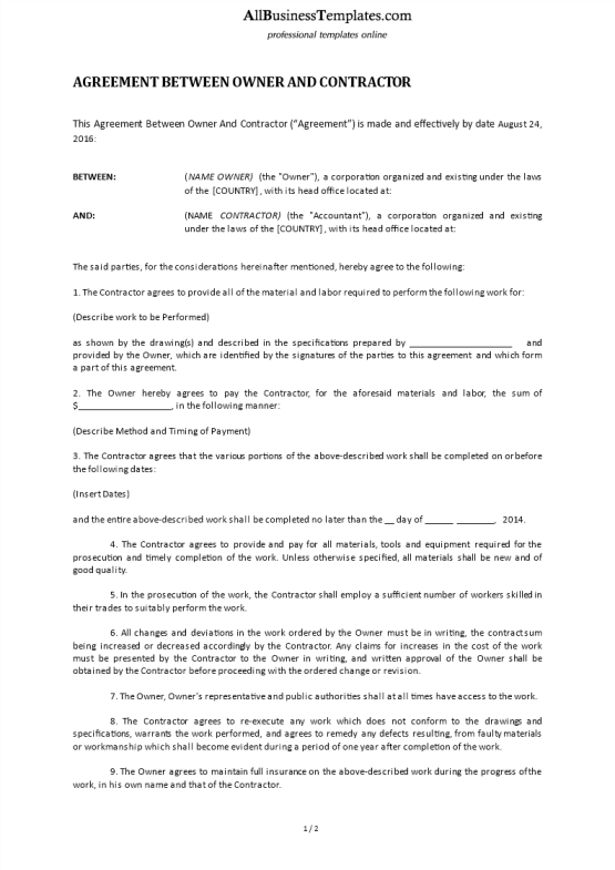 template topic preview image Agreement Between Owner and Contractor Template