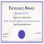 template topic preview image Excellence Award Certificate