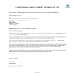 template topic preview image Conditional Employment Offer Letter For New Employee