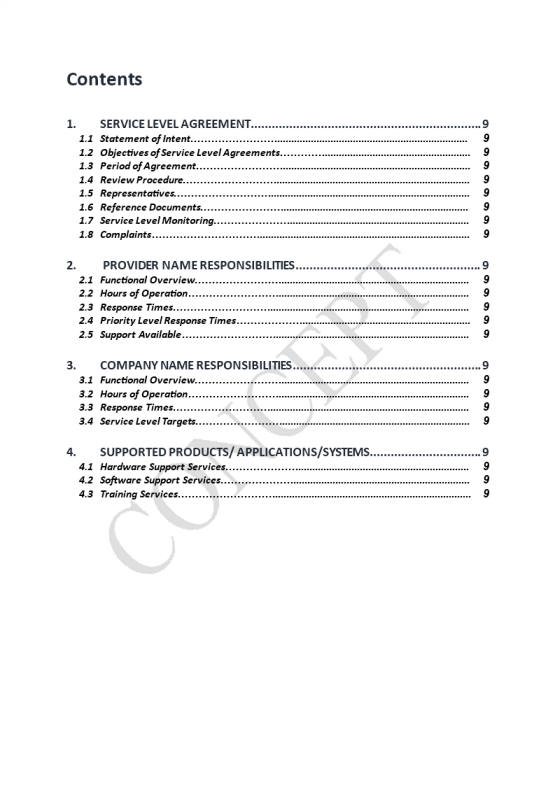 template topic preview image Service Level Agreement (SLA) Template