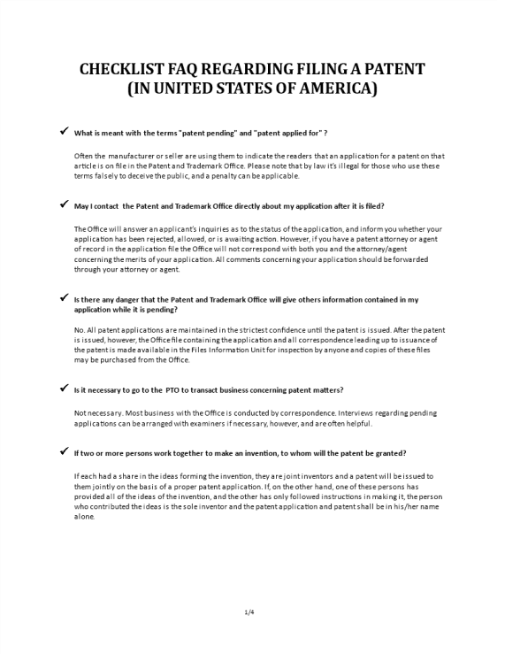 template topic preview image Checklist FAQ About Patents USA