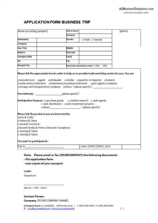 template topic preview image Business Trip Application Form