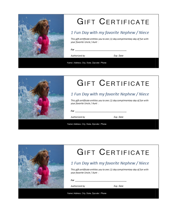 template preview imageOne Day Kids Gift Certificate template