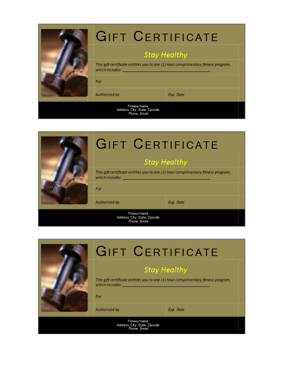 template preview imageFitness Gift Voucher Non-Cash Value