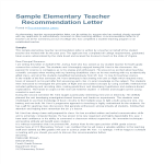 template topic preview image Letter of Recommendation for Elementary Teacher