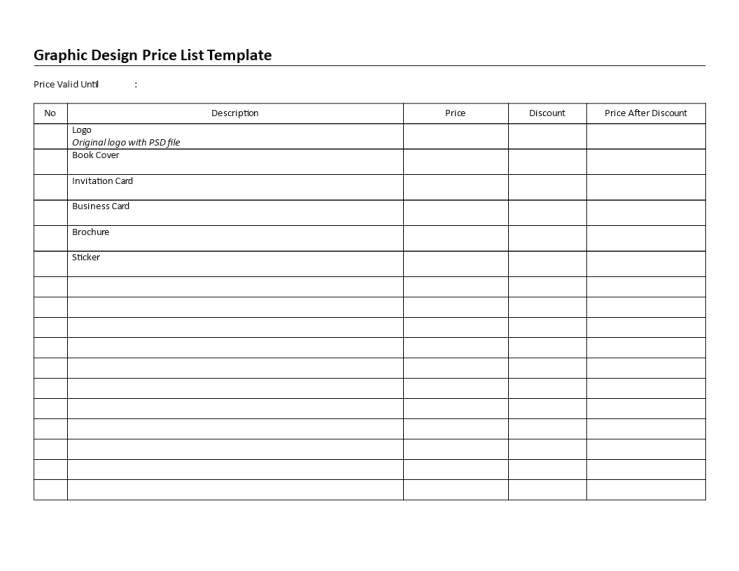 template topic preview image Printable Graphic Design Price List