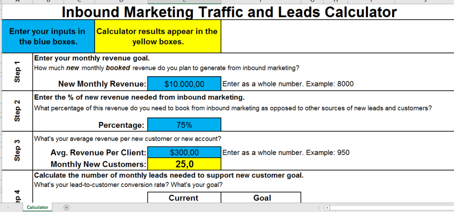 template preview imageInbound Marketing Traffic to Leads Calculator