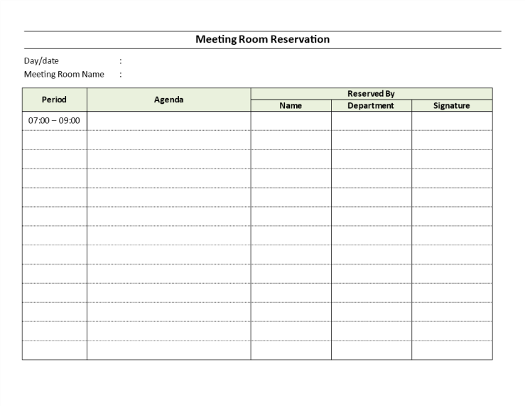 Meeting Room Reservation Sheet