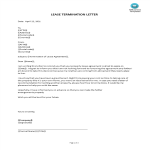 template topic preview image Lease Termination Letter Sample