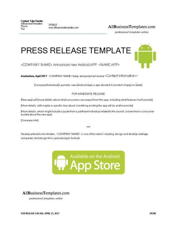 template topic preview image Press release Android App