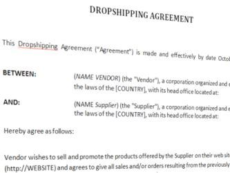 image Drop Shipping Agreement Template