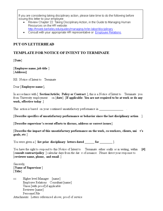 template topic preview image Example Letter of Notice Intent to Terminate