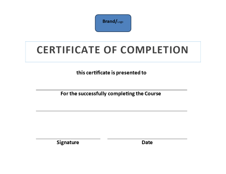 template topic preview image Certificate of Completion Example (Training)