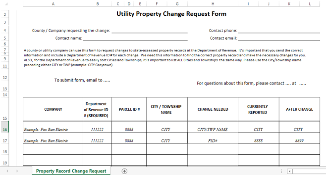 template preview imageUtility Property Change Request Form