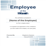 template topic preview image Employee of the month certificate