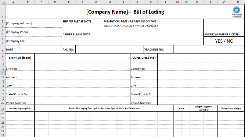 template topic preview image Bill of Lading Excel Template